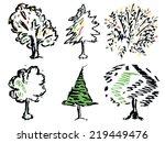autumn tree drawing vector   Shutterstock .eps vector #219449476