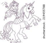 little fairy and unicorn  | Shutterstock .eps vector #219455788