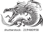 dragon doodle sketch tattoo | Shutterstock .eps vector #219480958