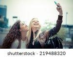 blonde and brunette beautiful...   Shutterstock . vector #219488320