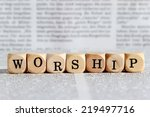 worship word on wooden block | Shutterstock . vector #219497716