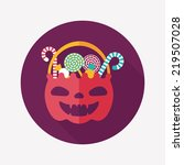 halloween candy flat icon with... | Shutterstock .eps vector #219507028