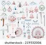 survival and camping vector... | Shutterstock .eps vector #219532006
