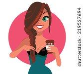 cute girl with big beautiful... | Shutterstock . vector #219537694