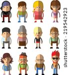 set of vector cute character... | Shutterstock .eps vector #219542923