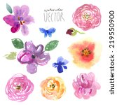 floral background  watercolor... | Shutterstock .eps vector #219550900