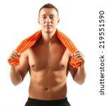 handsome young muscular...   Shutterstock . vector #219551590