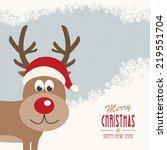 red nose reindeer santa hat... | Shutterstock .eps vector #219551704