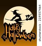 halloween card design with... | Shutterstock .eps vector #219557464