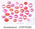 lipstick kiss signs prints pink ... | Shutterstock .eps vector #219574183