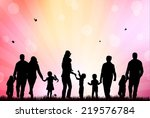 family silhouettes | Shutterstock .eps vector #219576784