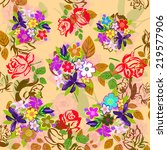 flowers abstract pattern... | Shutterstock . vector #219577906