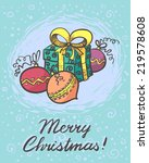 christmas card with gift box   Shutterstock .eps vector #219578608