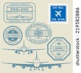 travel stamps set  vector... | Shutterstock .eps vector #219582886