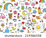kid's drawing style seamless... | Shutterstock . vector #219586558