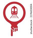 red map pointer icon with train ... | Shutterstock . vector #219603004