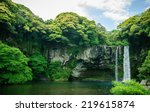 Постер, плакат: Cheonjiyeon Waterfall is a