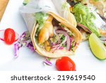 Fish Tacos On White Plate With...