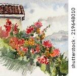 Watercolor Of Flowering Bush O...