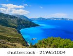 blue sea and mountains on coast ... | Shutterstock . vector #219651004