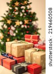 close up of a christmas gifts   ... | Shutterstock . vector #219660508
