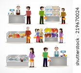 people in supermarket grocery... | Shutterstock . vector #219670024
