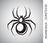 black spooky spider silhouette... | Shutterstock . vector #219672133