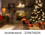 christmas scene with tree gifts ... | Shutterstock . vector #219676024