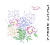 background with color peonies... | Shutterstock .eps vector #219689626