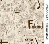 fun retro sketch finland... | Shutterstock .eps vector #219709960