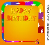 birthday greetings on an orange ... | Shutterstock . vector #219719338