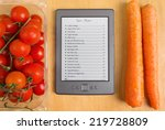 list of recipes on a tablet... | Shutterstock . vector #219728809