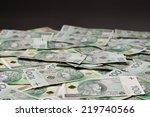 A lot of Polish banknotes. Polish zloty (PLN) - stock photo