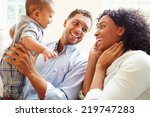 young family playing with happy ... | Shutterstock . vector #219747283