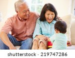 grandparents and grandson... | Shutterstock . vector #219747286