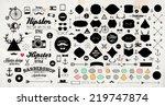 set of vintage hipster labels ...