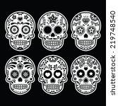 mexican sugar skull  dia de los ... | Shutterstock .eps vector #219748540