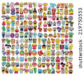 monsters   vector set   Shutterstock .eps vector #219750553
