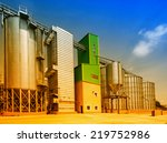 Big grain silos exterior on...