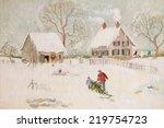Winter Scene With Farmhouse ...