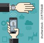 smartwatch and smartphone... | Shutterstock .eps vector #219755668