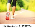 Stock photo young fitness woman hiker legs at forest trail 219757786