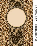 leopard background and lace.... | Shutterstock .eps vector #219760714