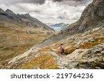hiker walking on dangerous... | Shutterstock . vector #219764236