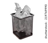 crumpled paper in the trash can ... | Shutterstock . vector #219769990