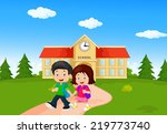 boy and girl with backpacks | Shutterstock .eps vector #219773740