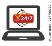 black computer laptop with 24 7 ... | Shutterstock . vector #219780310