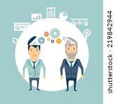 programmer works with the boss... | Shutterstock .eps vector #219842944