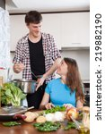 family together  cooking in... | Shutterstock . vector #219882190