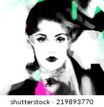 woman face. hand painted... | Shutterstock . vector #219893770